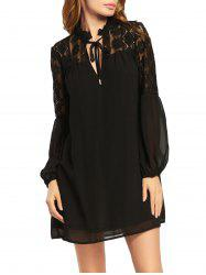 Lace Trim Long Puff Sleeve Chiffon Dress - BLACK