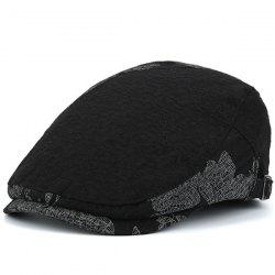 Adjustable Leaf Pattern Embellish Newsboy Cap - BLACK