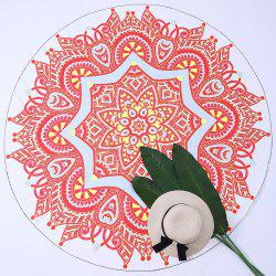 Round Tapestry Mandala Printed Beach Throw - ORANGE