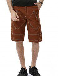 Rhombus Pockets Design Zipper Fly Cargo Shorts