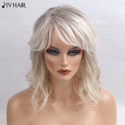 Siv Hair Medium Side Bang Slightly Curly Colormix Human Hair Wig - GRAY + WHITE