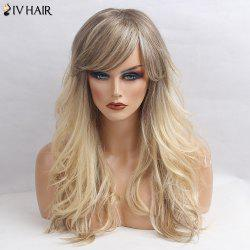 Siv Hair Long Side Bang Shaggy Wavy Colormix Human Hair Wig - GRAY