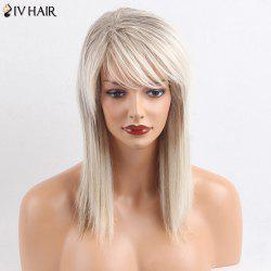 Siv Hair Medium Side Bang Straight Colormix Human Hair Wig