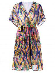 Tie Belt Graphic Flowy Surplice Dress