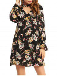 Flower Print Long Sleeve Choker Dress