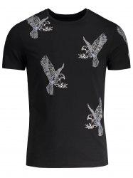 Crew Neck Eagle Pattern T-shirt