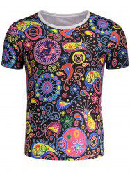Short Sleeves Kaleidoscope Pattern T-shirt