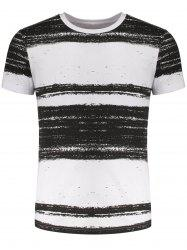 Short Sleeves Ink Striped Pattern Tee