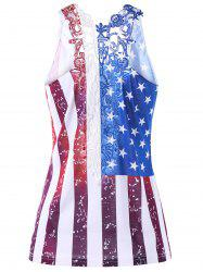 Plus Size Lace Panel American Flag T-shirt