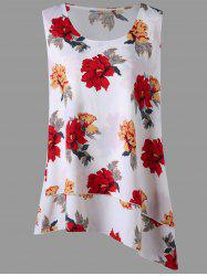 Plus Size Floral Asymmetric Layered Blouse