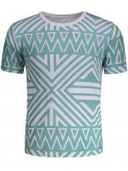 Crew Neck Geometry Pattern T-shirt