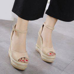 Wedge Heel Espadrilles Sandals - APRICOT