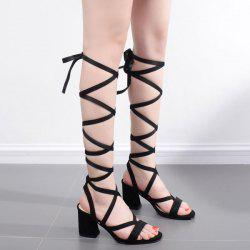 Mid Heel Tie Up Cross Strap Sandals