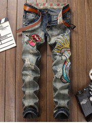 Fly Floral and Graphic Embroidered Faded Ripped Jeans