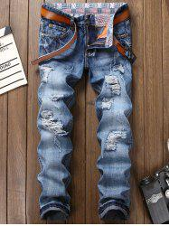 Bleach Wash Zipper Fly Faded Ripped Jeans - Bleu 34