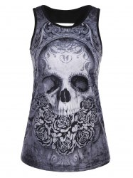 Skull Floral Print Ripped Back Tank Top - BLACK