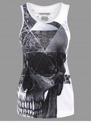 Cut Out Printed Racerback Tank Top