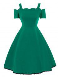 High Waist Lace Trim Vintage Dress - GREEN