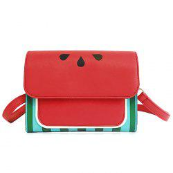 Watermelon Print Flap Crossbody Bag