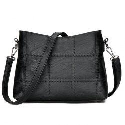 Stitching Faux Leather Crossbody Bag - BLACK