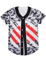 Heart Printed Camouflage Baseball Jersey