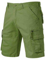 Applique Zip Up Pockets Straight Leg Cargo Shorts - ARMY GREEN