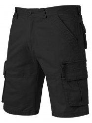 Applique Zip Up Pockets Straight Leg Cargo Shorts