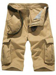 Pockets Embellished Design Zipper Fly Cargo Shorts