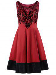 Crochet Panel Plus Size Prom Robe de cocktail - Rouge