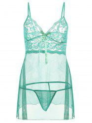 Lingerie Plus Size Mesh Slip Babydoll Dress - Vert clair 6XL