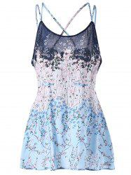 Plus Size Floral Print Lattice Camisole
