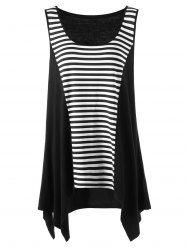 Plus Size Striped Tunic Asymmetric Top -