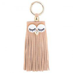 Faux Suede Owl Fringed Keyring - Café Clair