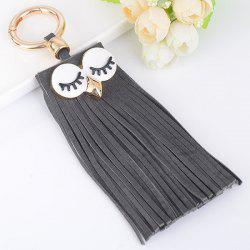 Faux Suede Owl Fringed Keyring - GRAY