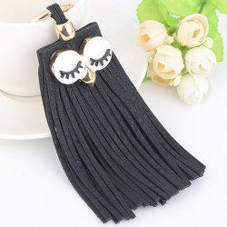 Faux Suede Owl Fringed Keyring - FULL BLACK
