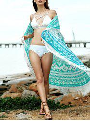 Hawaiian Geometric Fringe Convertible Sarong Dress Cover Up