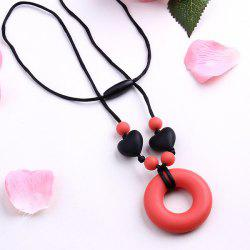 Silicone Circle Heart Beads Pendant Necklace