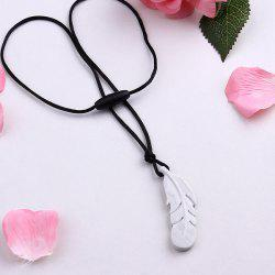 Silicone Rope Feather Pendant Necklace