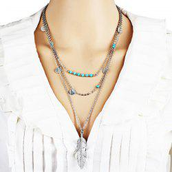 Faux Turquoise Disc Feather Layered Necklace