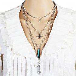 Alloy Feather Chinese Knot Star Layered Necklace