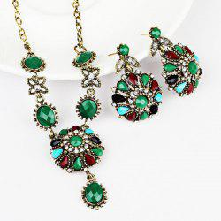 Rhinestone Flower Necklace with Earring Set