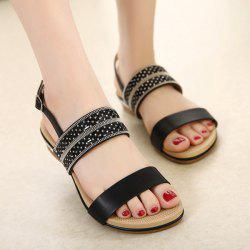 Faux Leather Beading Rhinestones Sandals