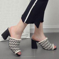 Block Heel Zigzag Pattern Slippers - BLACK