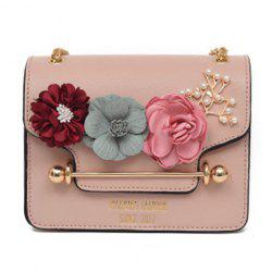 Flowers Cross Body Chain Bag - PINK