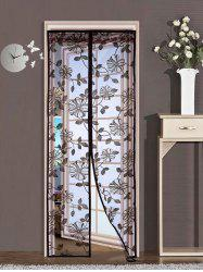 Floral Sheer Mesh Anti Insect Magnetic Door Curtain - COFFEE