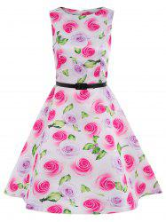 Sleeveless Fit and Flare Floral Dress with Belt