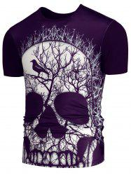 3D Skull Branch Printed Round Neck T-shirt - PURPLE