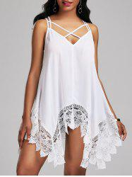 Lace Trim Lace Up Handkerchief Blouse - WHITE