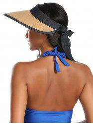Wide Brim Bowknot Band Open Top Straw Hat - LIGHT COFFEE