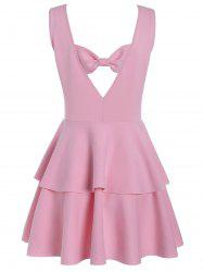 Layered Flouce Cut Out Back Tank Dress - PINK